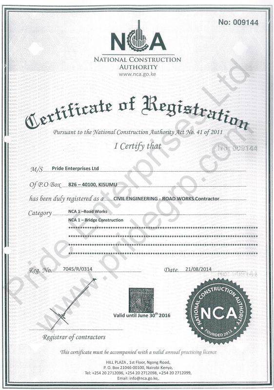 NCA Civil Engineering - Pride Enterprises Ltd