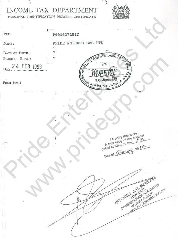 Pin Certificate - Pride Enterprises Ltd